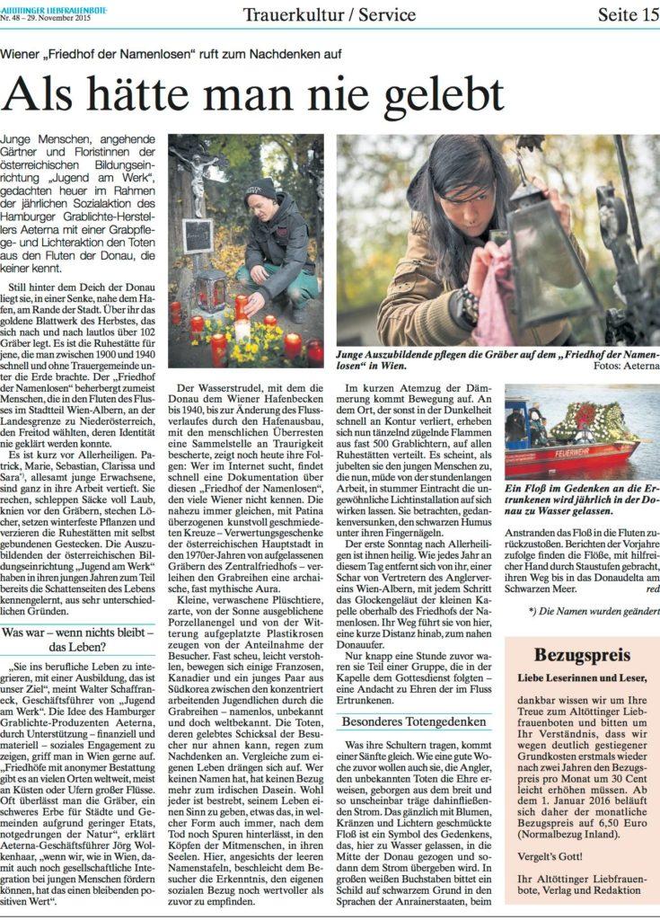 Aeterna Beitrag 'Friedhof d. Namenlosen'